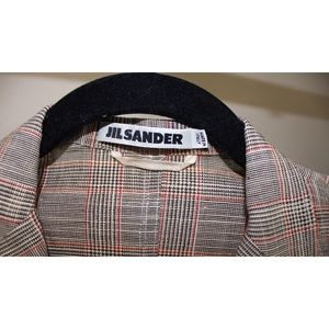 Jil Sander Linen Silk Cotton Blend Plaid Jacket